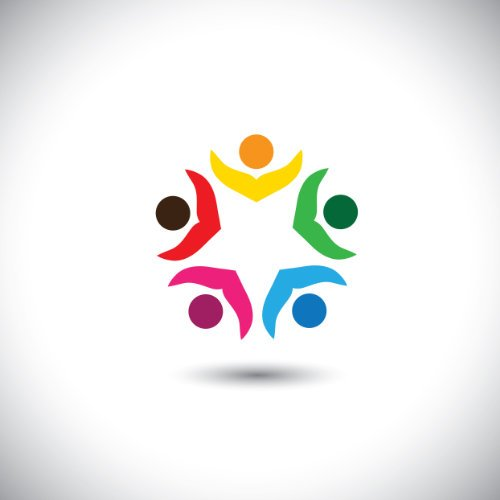 company executives board meeting & brainstorming - concept vector. This abstract graphic icon represents support group meeting, students learning, people together, management strategy & planning